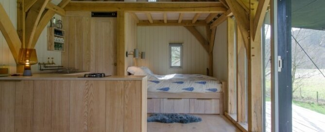 Tiny Cabin - Out Of The Valley - Devon - Living Area - Humble Homes