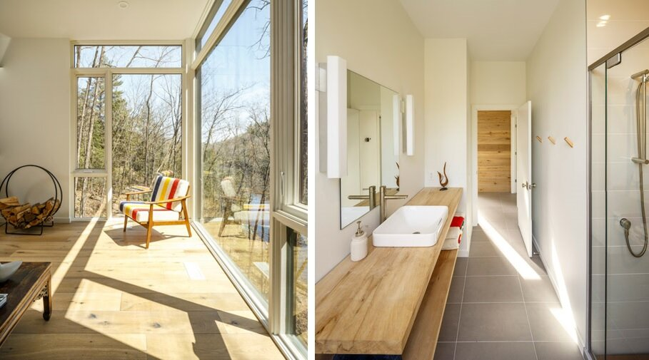 Val Des Monts - Retreat - Christopher Simmonds - Ottawa - Living Room and Bathroom - Humble Homes
