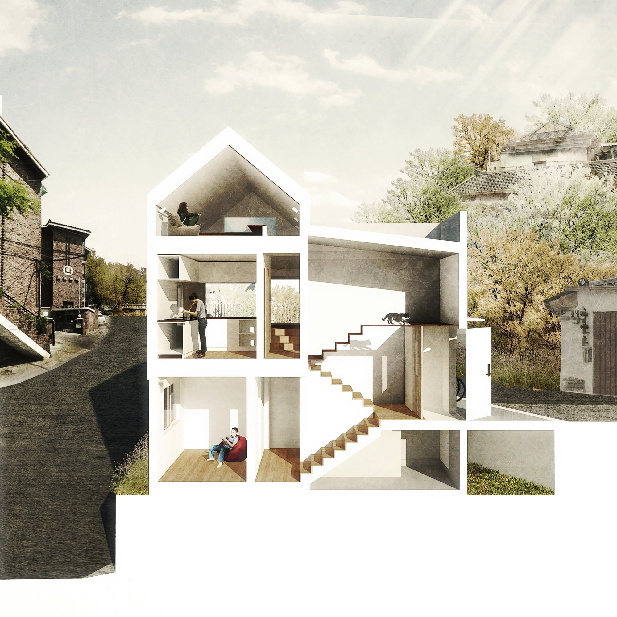 50m2 House - OBBA - Seoul - Cross-Section - Humble Homes