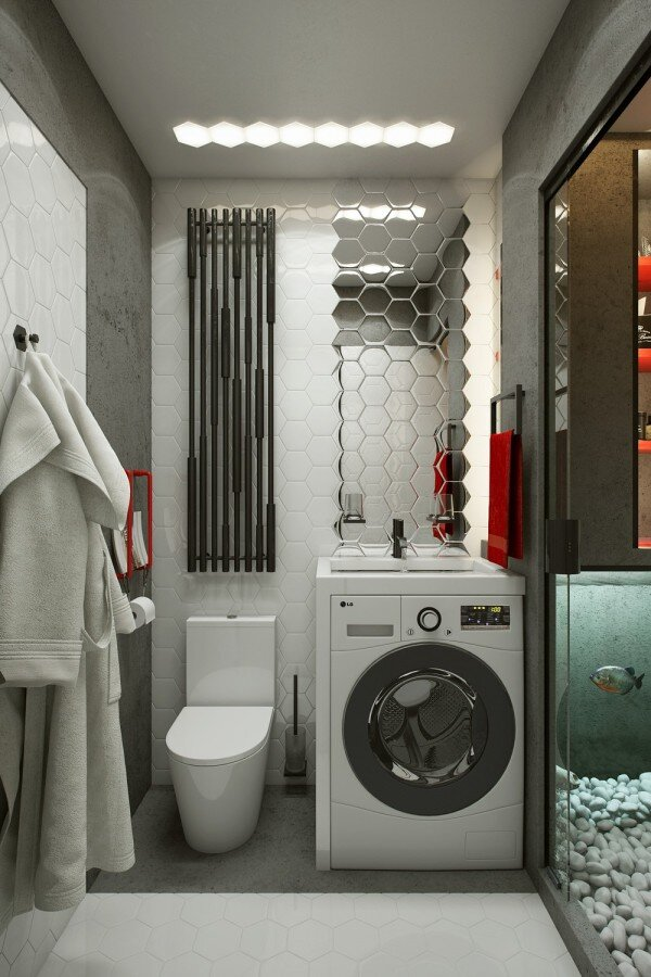 Tiny Apartment - One Studio - Ukraine - Bathroom - Humble Homes