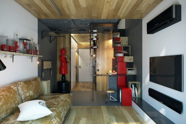Tiny Apartment - One Studio - Ukraine - Living Area - Humble Homes