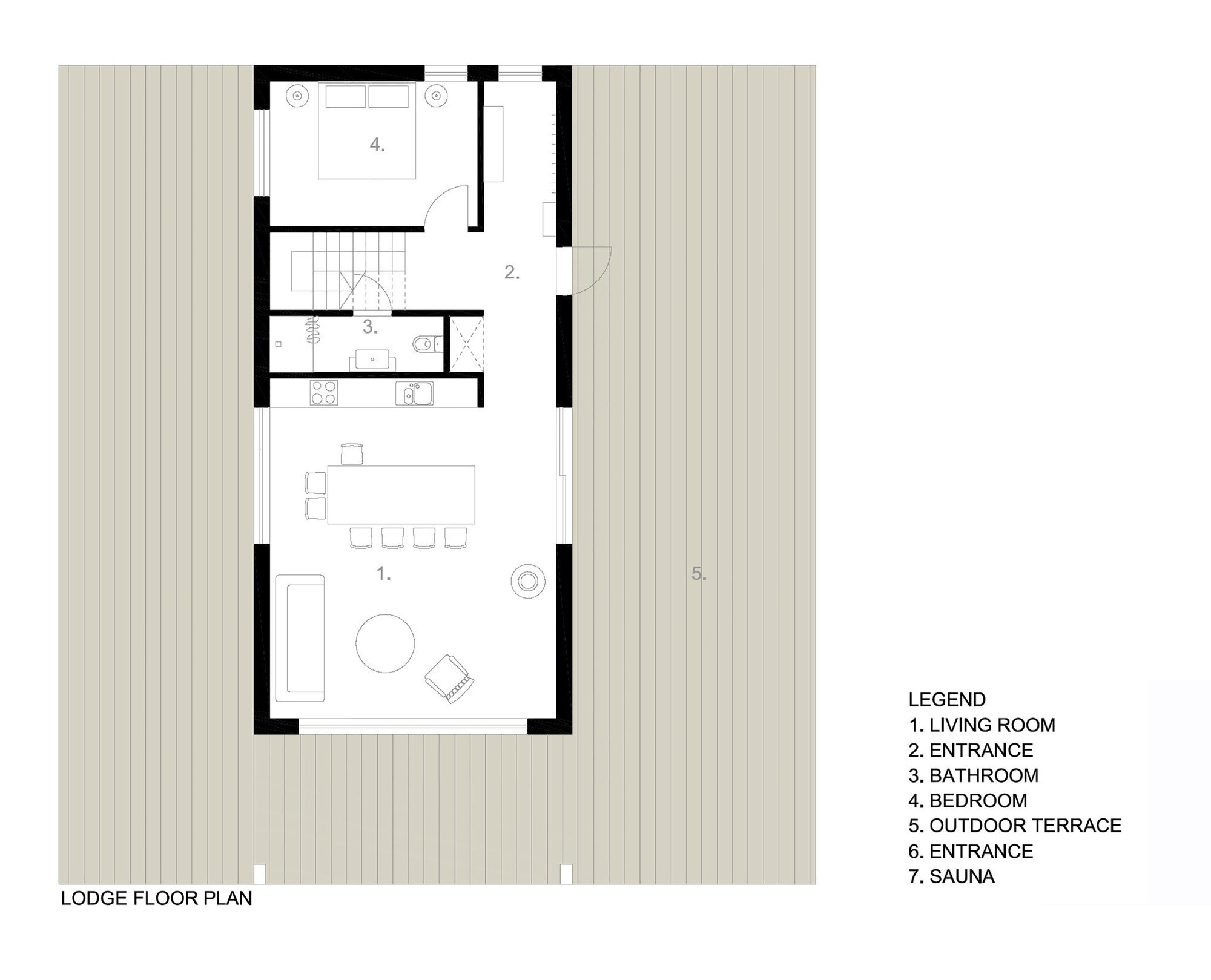 Lithuanian Hunting House - Devyni architektai - Lithuania - Floor Plan - Humble Homes