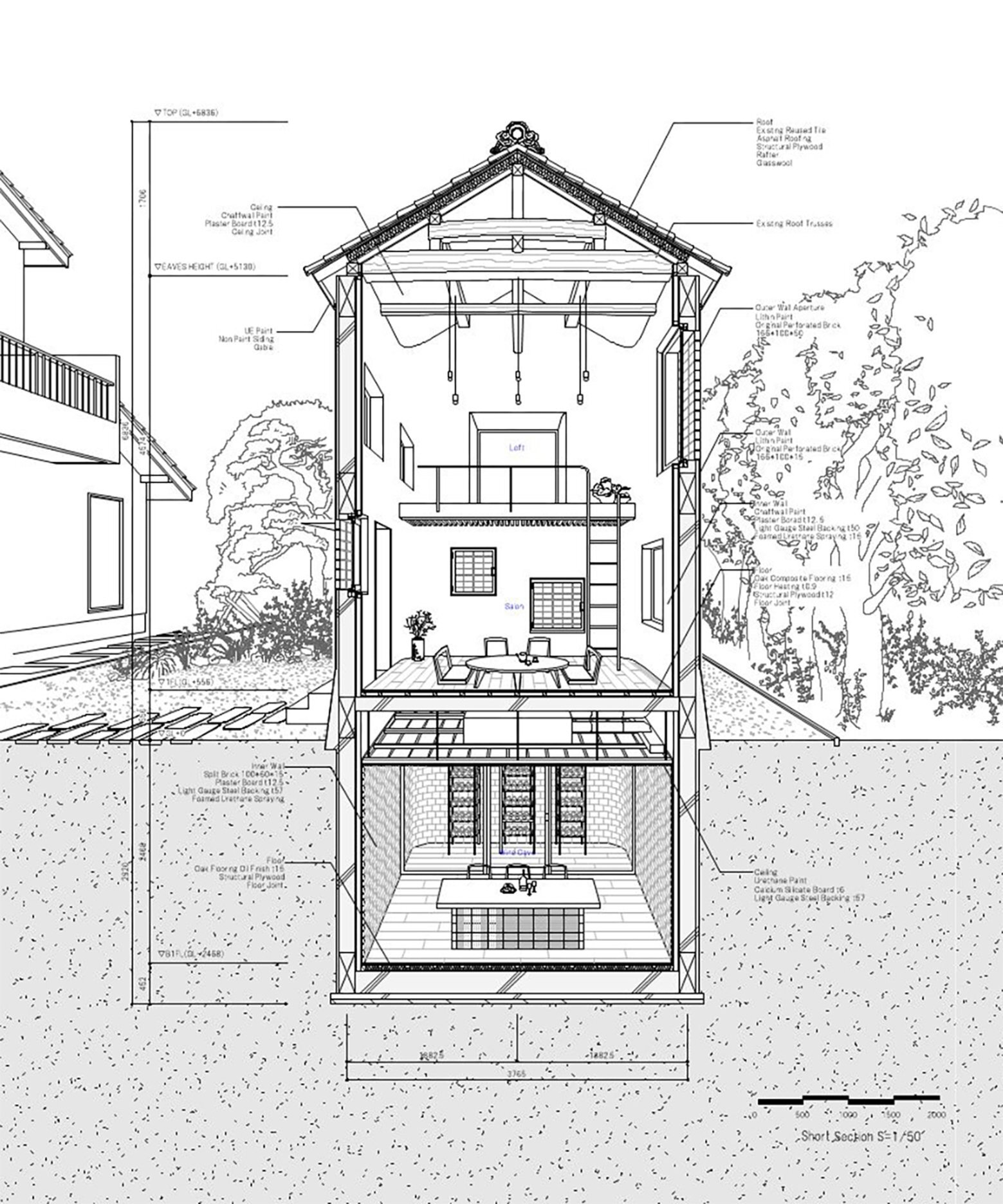 RebirthHouse - Ryo Matsui Architects - Japan - Cross-Section - Humble Homes