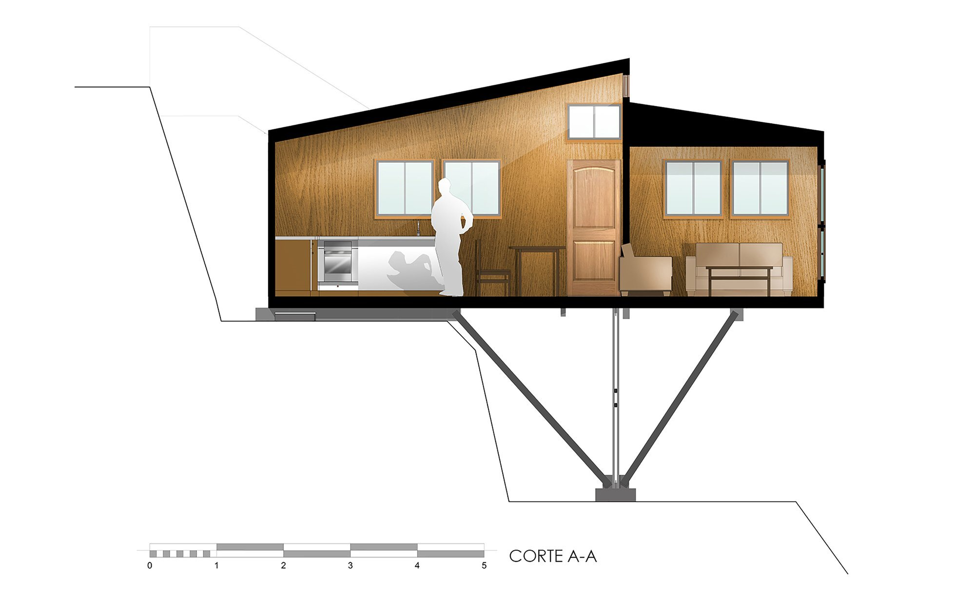 Suarez House - Arq2g arquitectura - Chile - Cross-section - Humble Homes