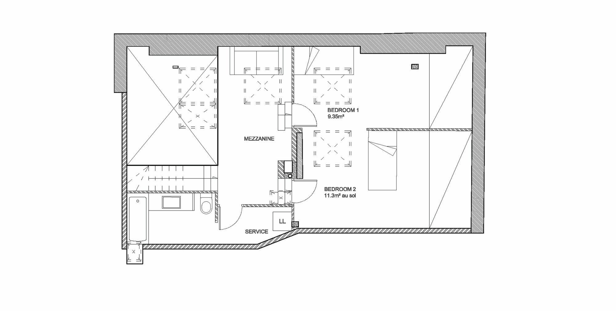 Duplex in Saint-Mande - CAIROS Architecture et Paysage - France - Floor Plan - Humble Homes
