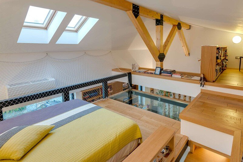 loft bed and studio in situ romania timber roof structure
