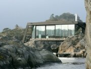 Woody15 a tiny cross laminated timber cabin - Isolated contemporary design cabin straddles rocks on norwegian island ...