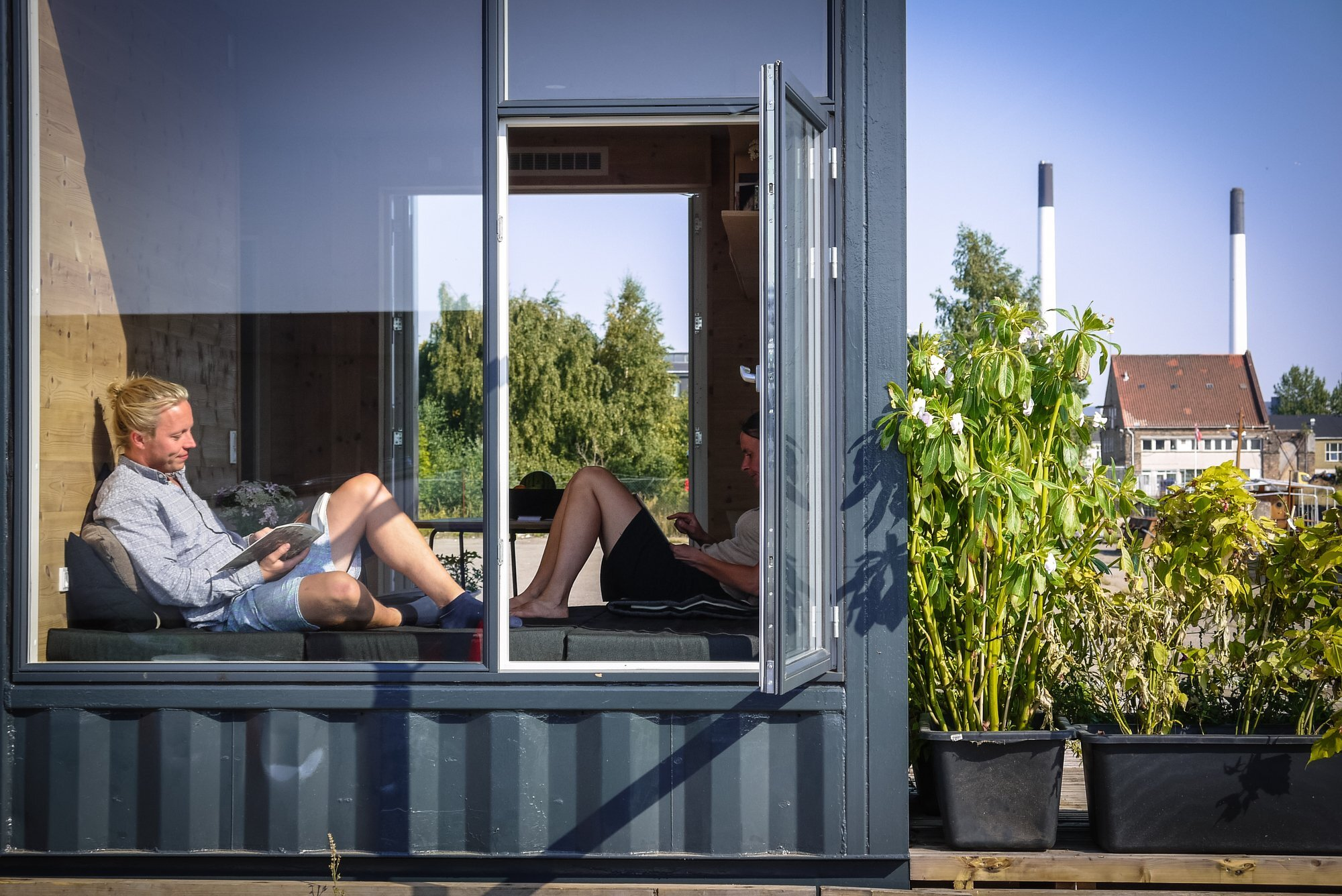 a student village made of container homes in copenhagen by cph. Black Bedroom Furniture Sets. Home Design Ideas