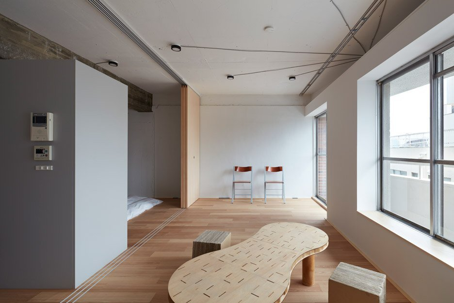 Toyko apartment renovation embraces unfinished style for Japanese office interior design