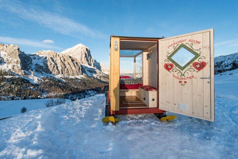Starlight Room - Tiny Cabin - Dolomite Mountain Range - Italy - Door Open - Humble Homes