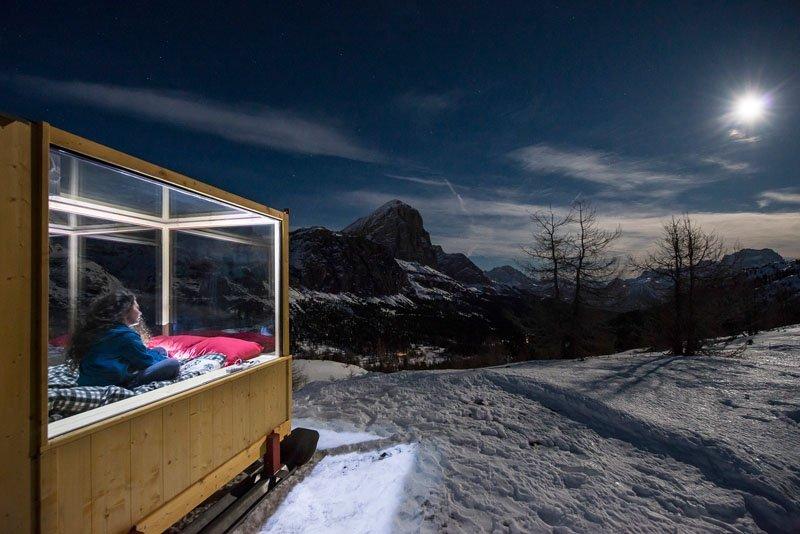 Starlight Room - Tiny Cabin - Dolomite Mountain Range - Italy - Side - Humble Homes