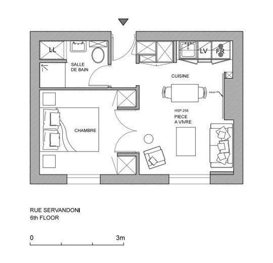 Tiny Apartment - A+B Kesha - Paris - Floor Plan - Humble Homes