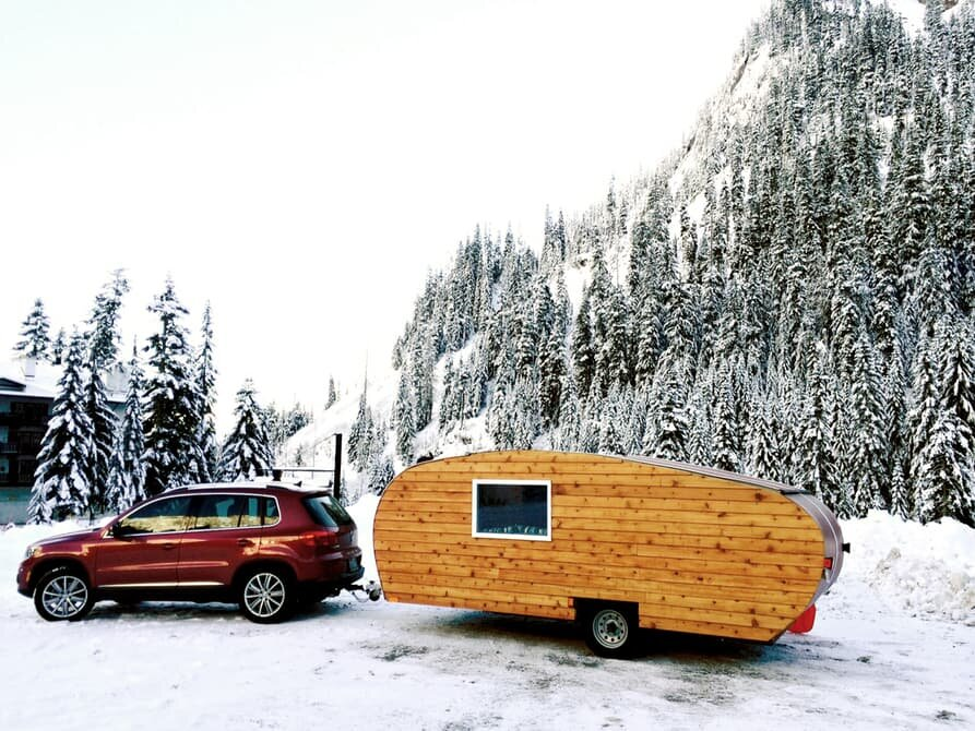 Homegrown Trailers - Teardrop Trailer - Washington - Exterior with Car - Humble Homes