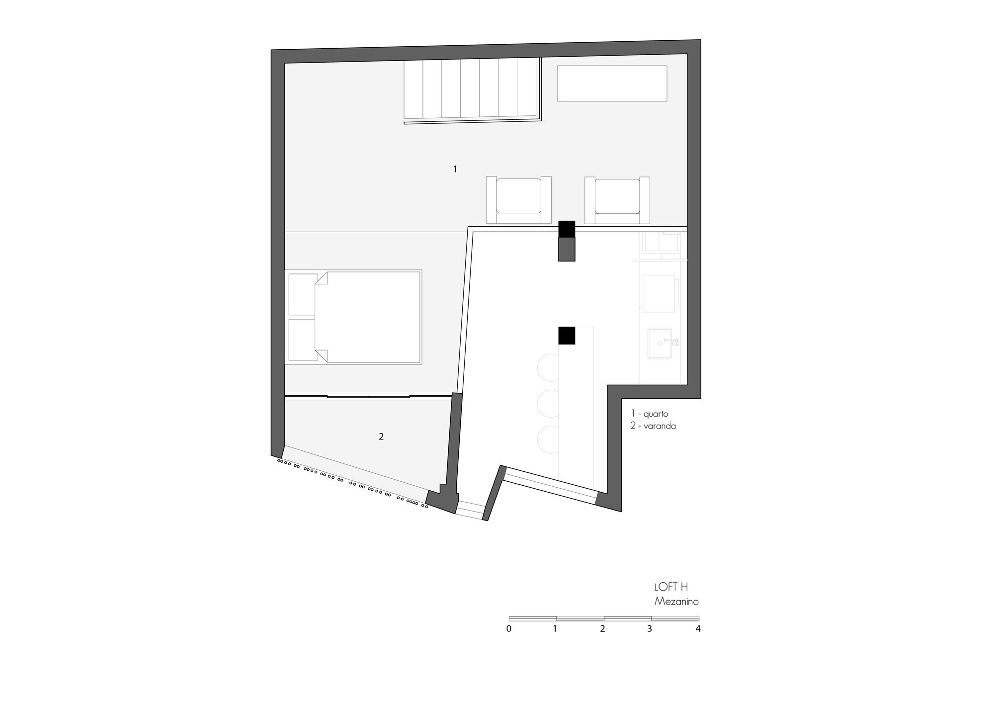 Loft Grandpa - MEIUS Arquitetura -  Brazil - Second Floor Plan - Humble Homes