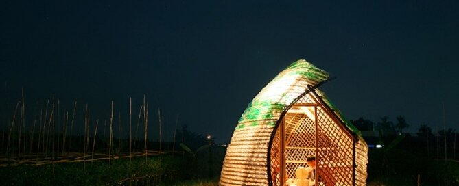 Bottle Seedling House - International Architecture JSC - Vietnam - Exterior at Night - Humble Homes