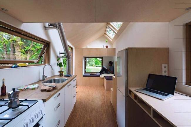 Dutch Minimalist Tiny House - Marjolein Jonker - The Netherlands - Kitche and Living Area - Humble Homes