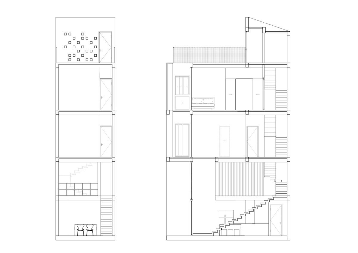 Micro Townhouse - MM++ Architects - Vietnam - Section - Humble Homes