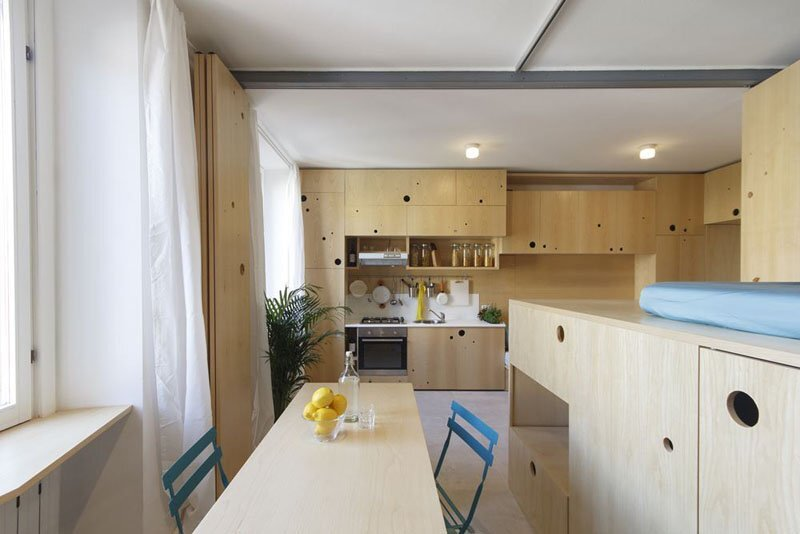 Creative TIny Apartment - Planair - Milan Italy - Kitchen and Dining Area - Humble Homes
