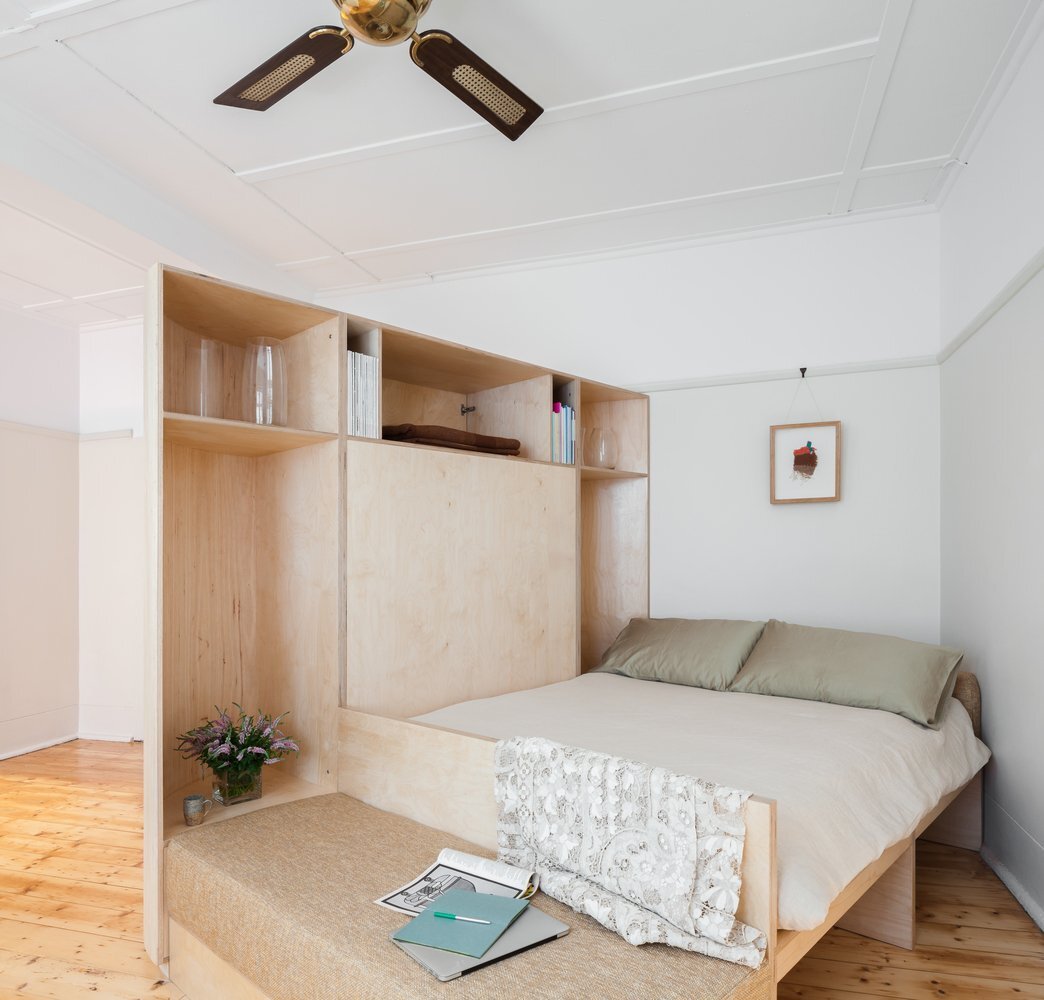 Small and Sculpted Studio Apartment - Catseye Bay Design - Darlinghurst Australia - Bed - Humble Homes