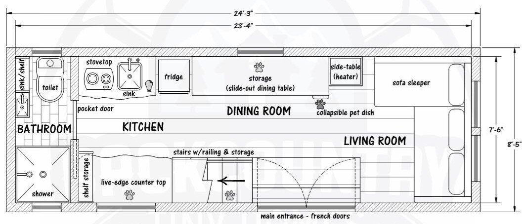 The Basecamp - Backcountry Tiny Homes - Floor Plan - Humble Homes