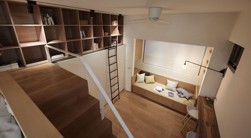 Tiny Apartment - A Little Design - Taipei Taiwan - Living Room From Above - Humble Homes