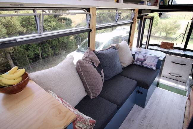 Bus Conversion to Tiny House - Bus Life NZ - New Zealand - Living Room - Humble Homes