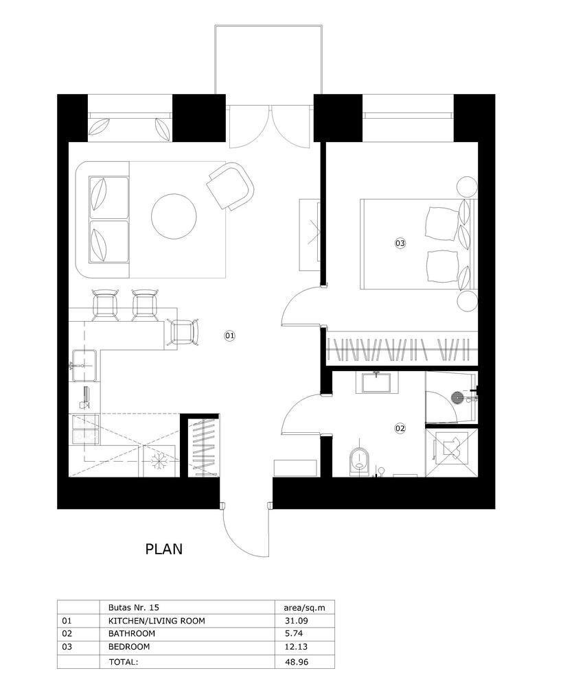 Apartment In Vilnius Old Town - Interjero Architektūra - Lithuania - Floor Plan - Humble Homes