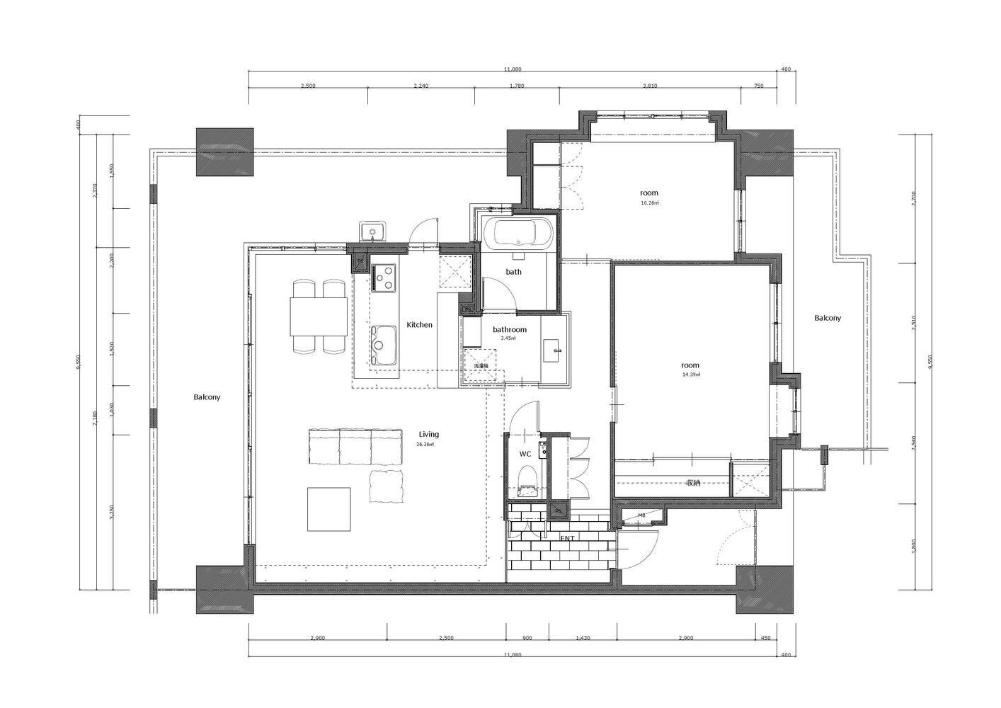 Nionohama Apartment House Renovation - ALTS Design Office - Japan - Floor Plan - Humble Homes