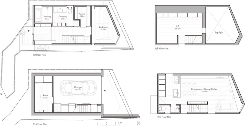 Atelier Tekuto - Tokyo Japan - Small House with Skylight - Floor Plans - Humble Homes