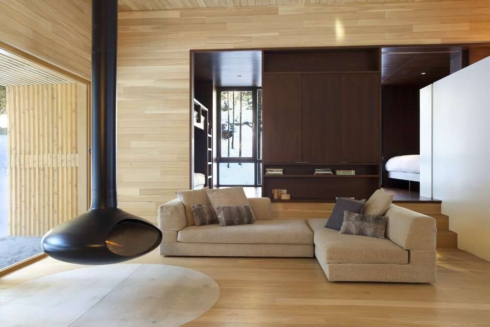 La Luge House by YH2 Architects - Quebec Canada - Living Room - Humble Homes