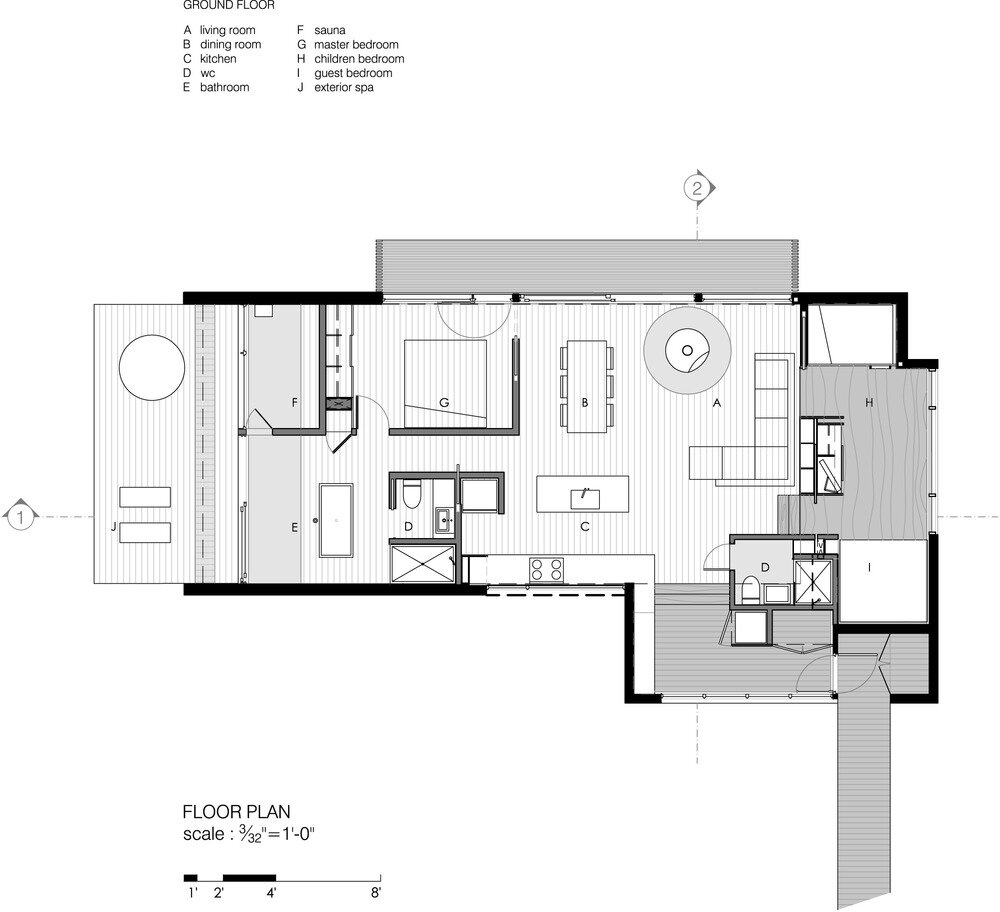 La Luge House by YH2 Architects - Quebec Canada - Winter Cabin - Floor Plan - Humble Homes