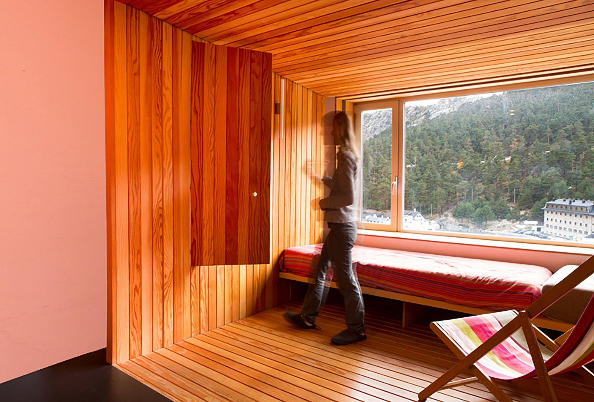 Studio in a Mountain Resort - Beriot Bernardini Arquitectos - Madrid Spain - Storage and Picture Window - Humble Homes