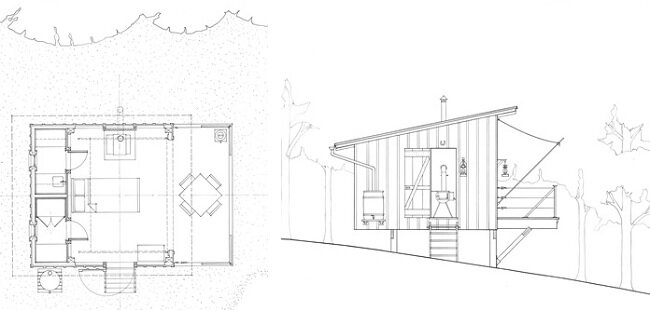 The Shack at Hinkle Farm - West Virginia - Weekend Retreat - Broadhurst Architects Inc - Plans - Humble Homes
