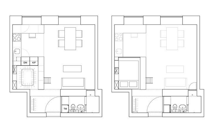 Karin Matz Renovates - HB6B Apartment - Stockholm Sweden - Tiny Apartment - Floor Plan - Humble Homes