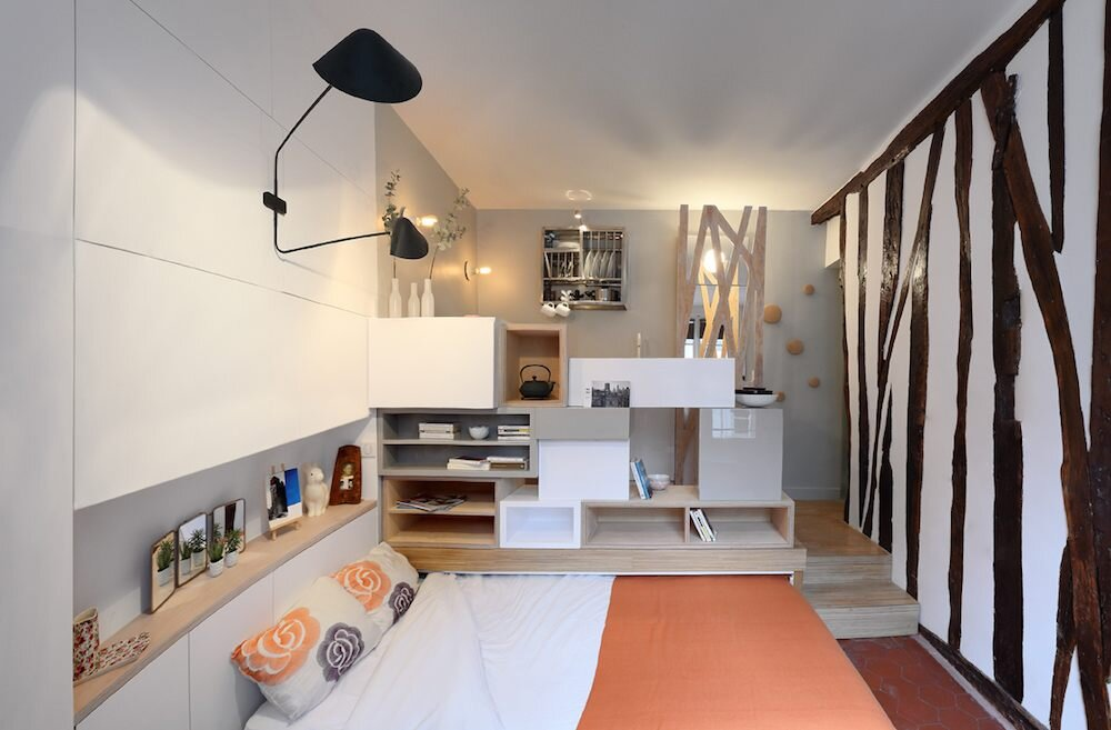 Parisian Tiny Apartment - Julie Nabucet Architecture - France - Pull-out Bed - Humble Homes
