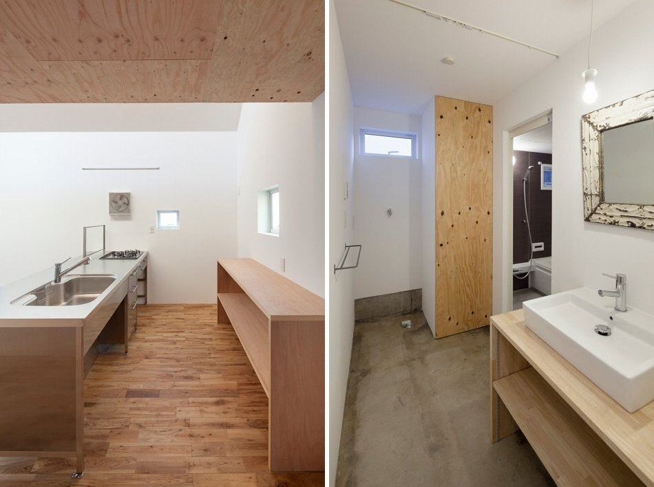 Pointed GEH House by I.R.A. - International Royal Architecture - Tokyo - Japan - Small House - Kitchen and Bathroom - Humble Homes