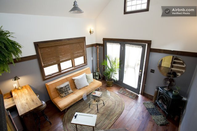 Rustic Tiny House - Portland -AirBnB - Living Room & Entrance - Humble Homes