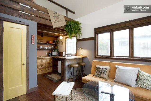 Rustic Tiny House - Portland -AirBnB - Living Room & Kitchen - Humble Homes
