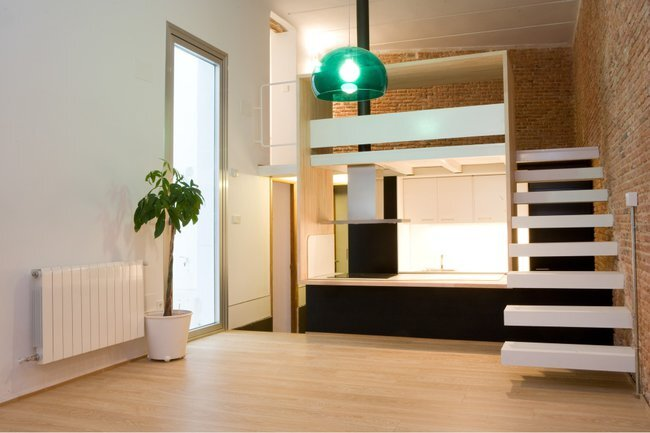 Beriot Bernardini Arquitectos - Small Apartment - Madrid - Living Area & Kitchen - Humble Homes