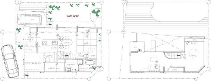 North Garden House - Small House - y+M - Tokushima Japan - Floor Plan - Humble Homes
