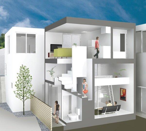 Isogo House - Japanese House - Be-Fun Design - Tsuyoshi Shindo - Section - Humble Homes