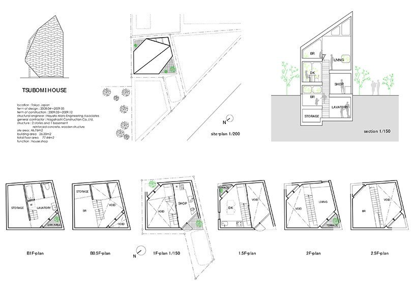 Bud House - Japanese House - Flat House - Tokyo - Floor Plans - Humble Homes