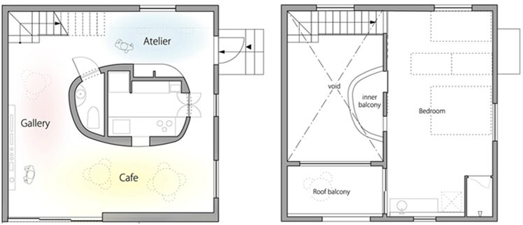 Oeuf - Multifunctional Home - Flat House - Tokyo - Floor Plans - Humble Homes