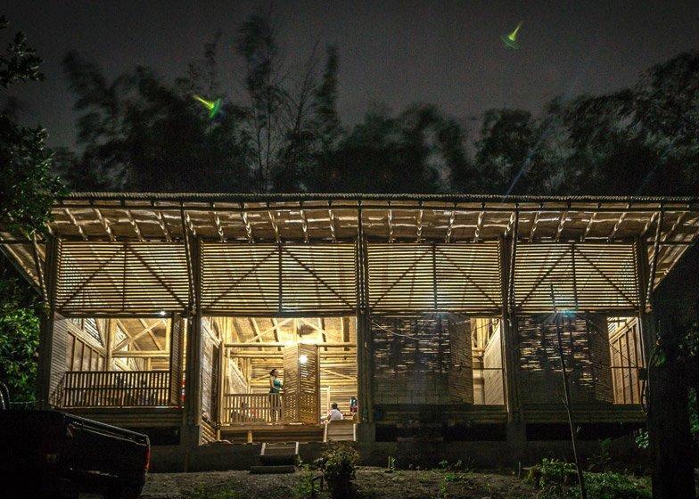 Bamboo House - Convento House - Enrique Mora Alvarado - Ecuador - Exterior at Night - Humble Homes