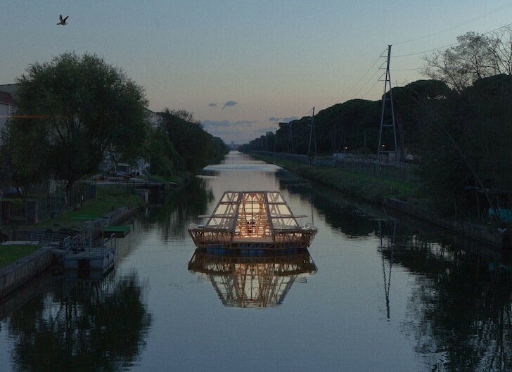 Jellyfish Barge - Studiomobile - Floating Greenhouse - At Night - Humble Homes