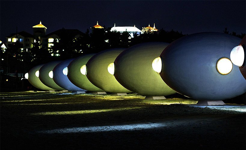 Outdoor Living Capsules - Yoon Space & Song Pyoung Albang - Korea - Capsules at Night - Humble Homes