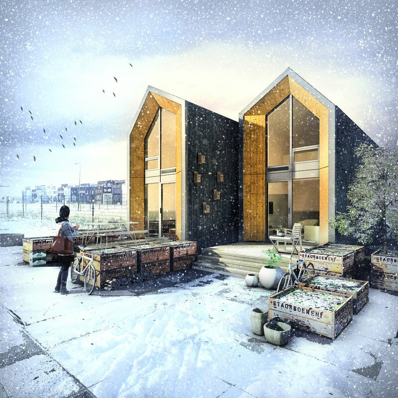 Tiny House - Heijmans ONE - Amsterdam - Exterior Winter - Humble Homes