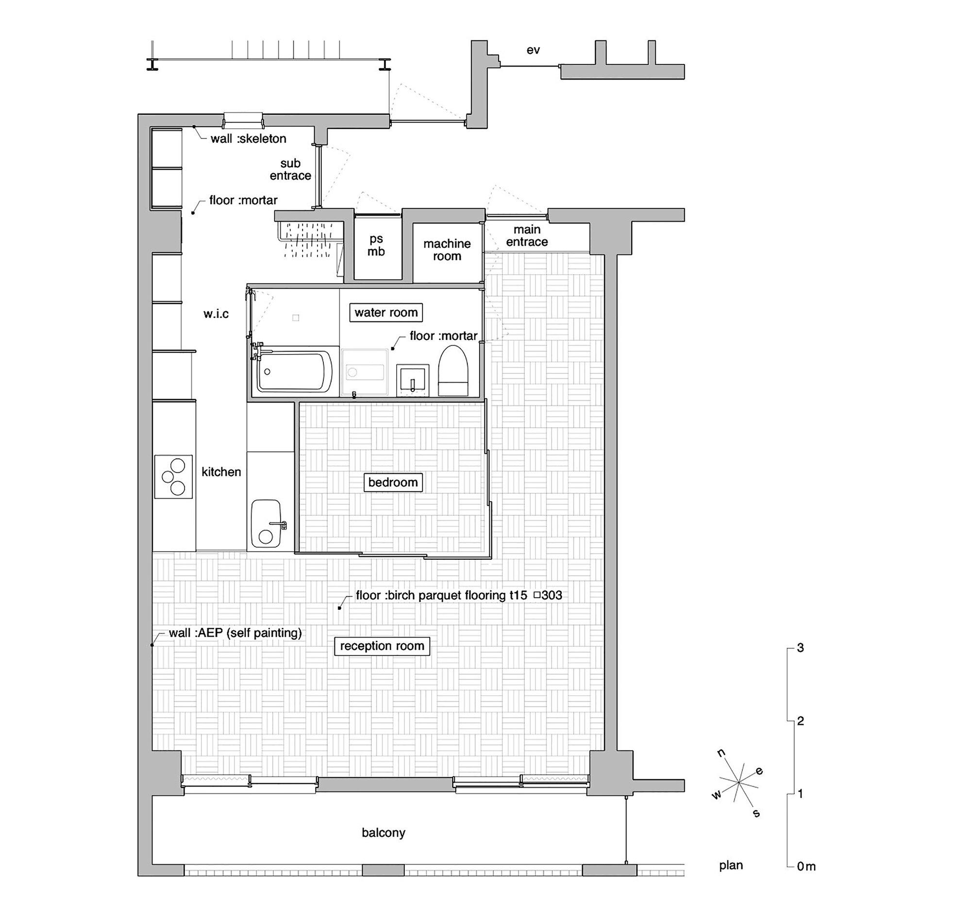 Tsukiji Room H - Yuichi Yoshida & associates - Tokyo - Floor Plan - Humble Homes