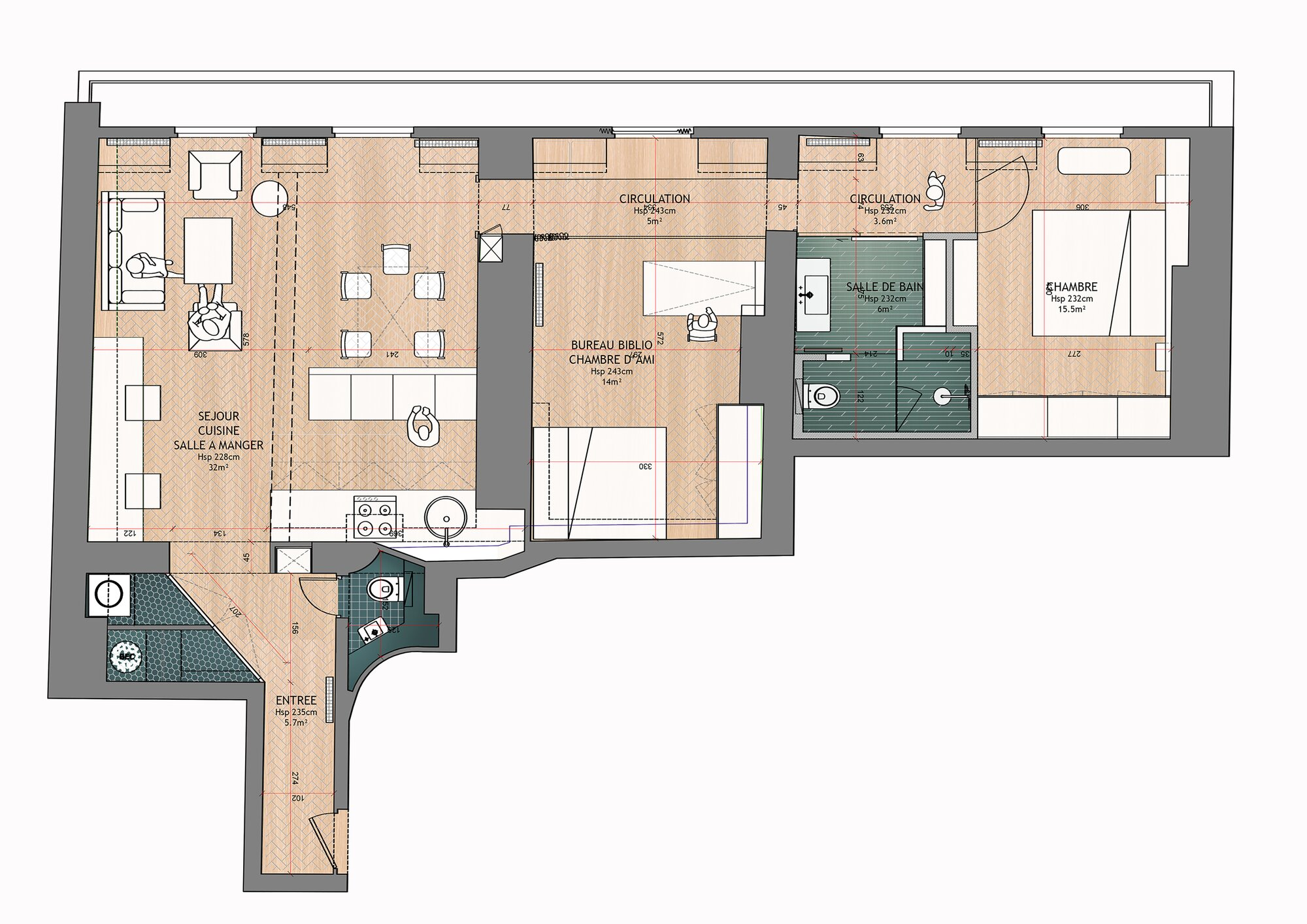 Apartment Remodel - Alia Bengana - Paris - Floor Plan - Humble Homes