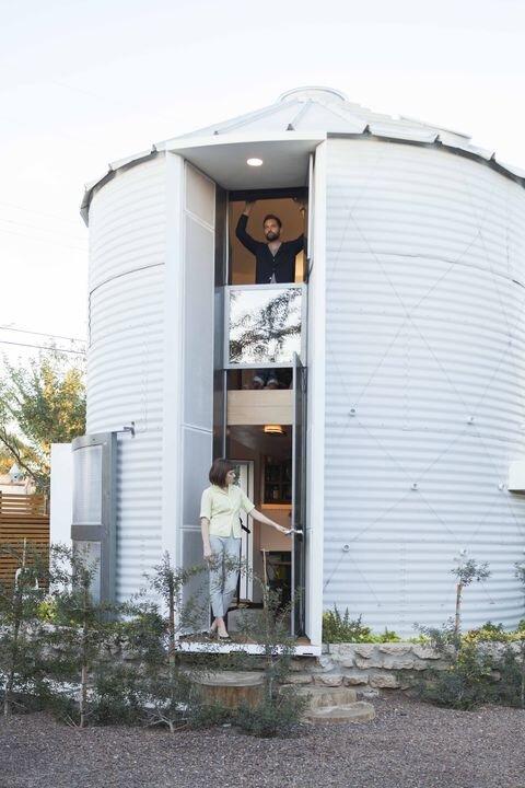 Tiny House - Coverted Grain Silo - Christoph Kaiser - Arizona - Exterior Entrance - Humble Homes